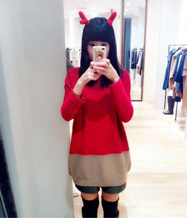 红色皮短裤搭配图片