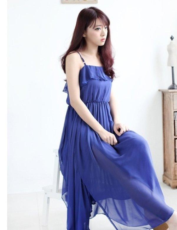 蓝色 沙滩裙搭配