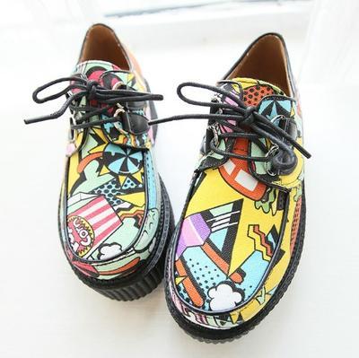 新款厚底松糕鞋日系原宿欧式汉堡潮流玩味涂鸦图案