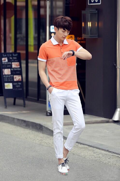 橘色衣服搭配图片男