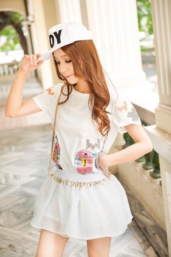 可爱的绣花图案 蓬蓬迷你小短裙,不可分开.