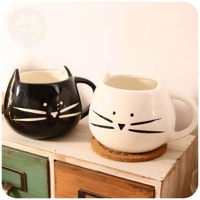 聚可爱 zakka风可爱动物创意马克杯陶瓷杯情侣杯 黑白猫杯咖啡杯