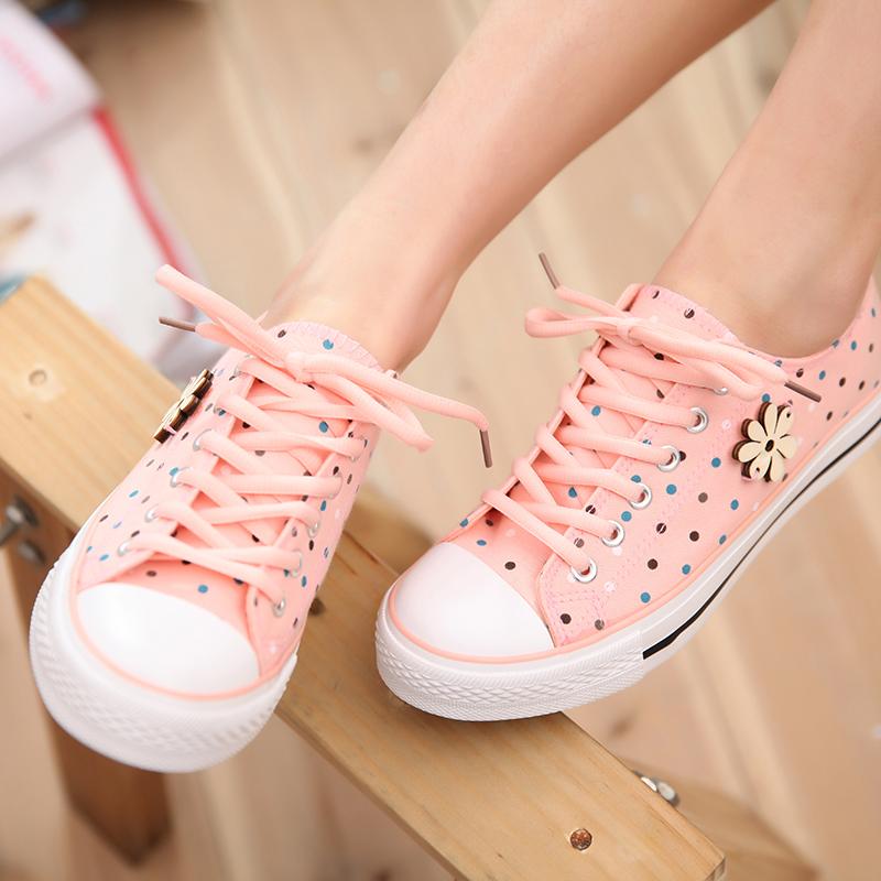 春季新款碎花 可爱少女圆点帆布鞋女韩版潮 学生鞋平底布鞋单鞋